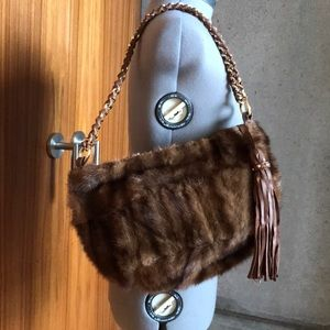 Paolo Masi authentic mink & Italian leather bag